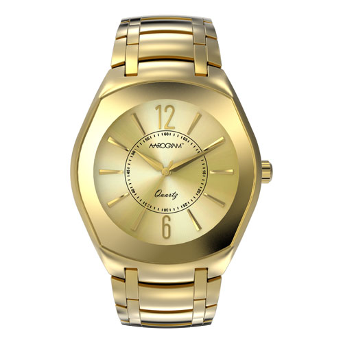 Aarogyam gold square dial gold plated stainless steel SS belt strap magnetic Therapy Health Watch Bracelet