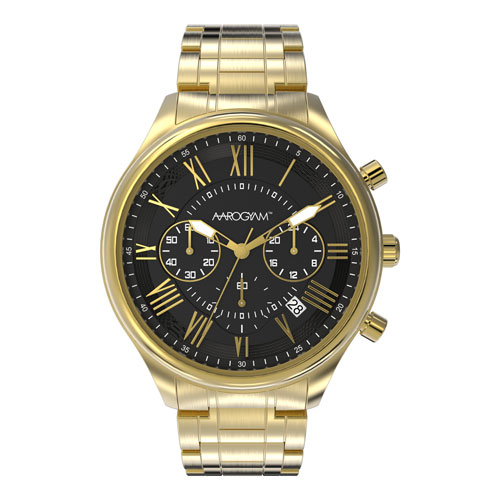 Aarogyam Black Dial Golden Chronograph Biomagnetic Therapy Health Watch