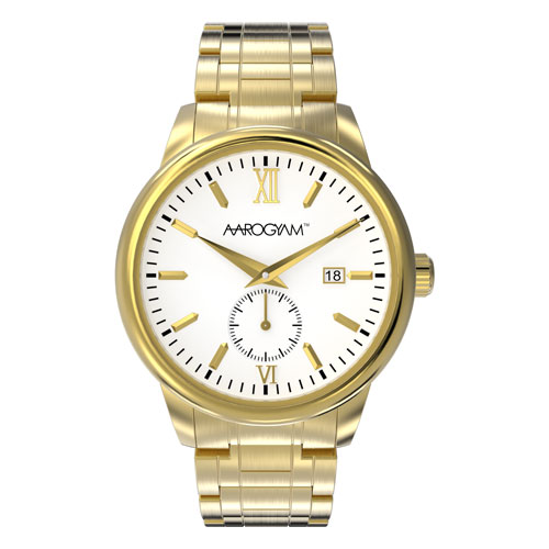 Aarogyam White Dial Elegant Smart Golden Solid Stainless Steel Biomagnetic Therapy Health Watch Bracelet