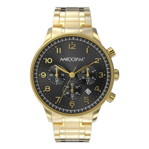 Aarogyam Black Dial Chronograph Movement Golden Solid Stainless Steel Biomagnetic Therapy Health Watch Bracelet for men man