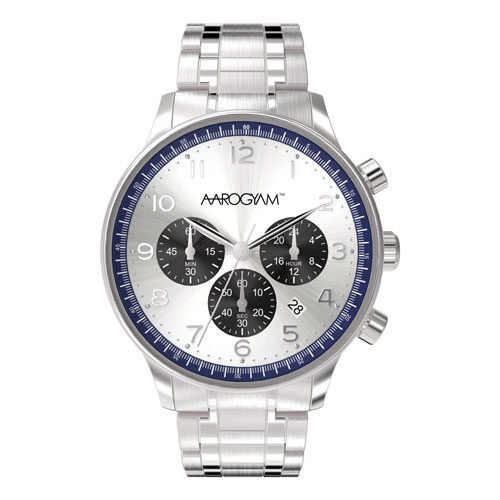 Aarogyam Energy Blue Border Silver Black Dial Chorograph Movement Silver Solid Stainless Strap Belt magnetic Therapy Health Watch Bracelet