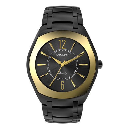 Aarogyam black square dial gold glass black plated stainless steel SS belt strap magnetic Therapy Health Watch Bracelet elegant formal