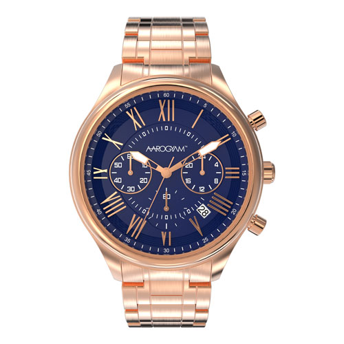 Aarogyam Blue Dial Chronograph movement Copper plated stainless steel magnetic Watch Bracelet gents man men students youth