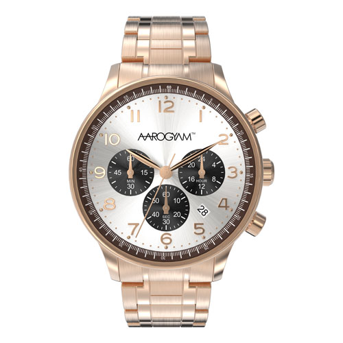 Aarogyam white black Dial Chronograph Copper plated stainless steel magnetic Therapy Watch Bracelet office man women