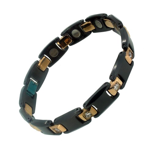 Aarogyam Tungsten Ceramic Black Colour Magnetic Bracelet CZ Stone